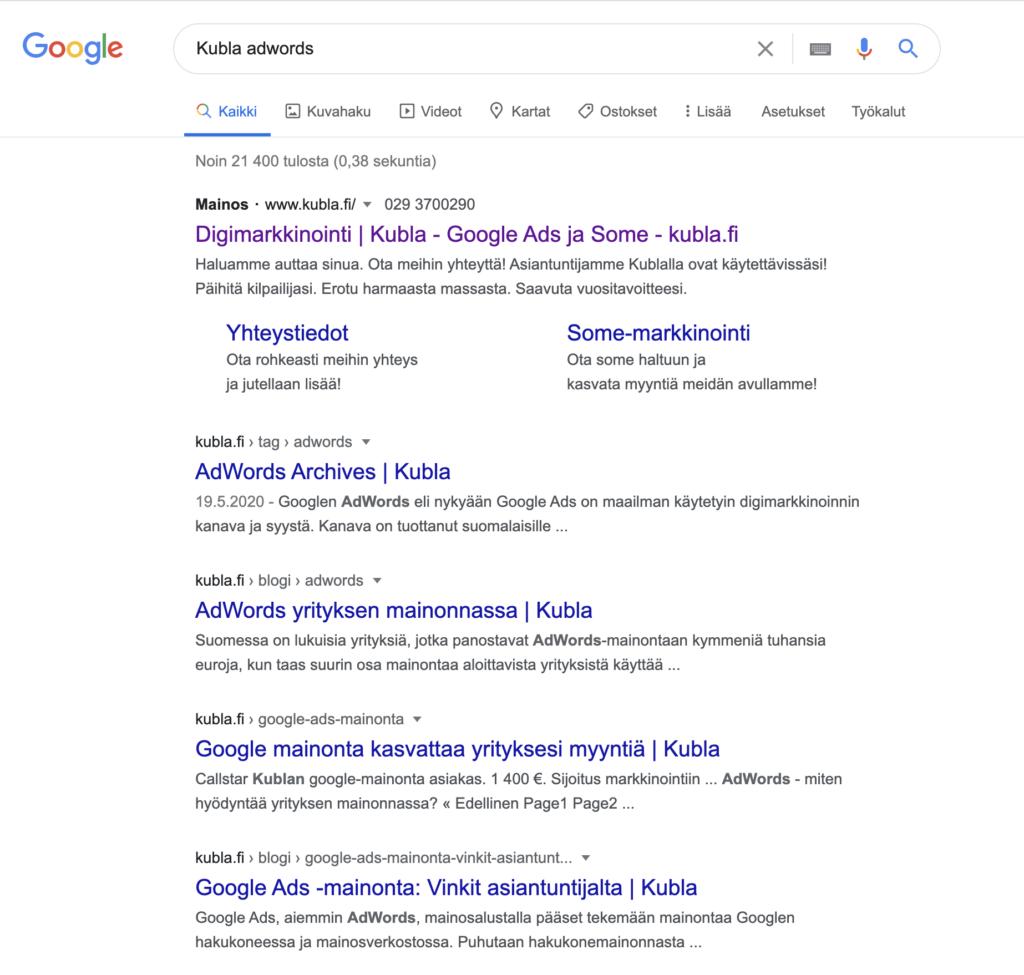Mikä on Google - Kubla Googlen haussa