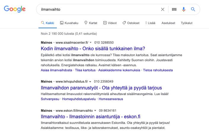 google ads hakusanamainos
