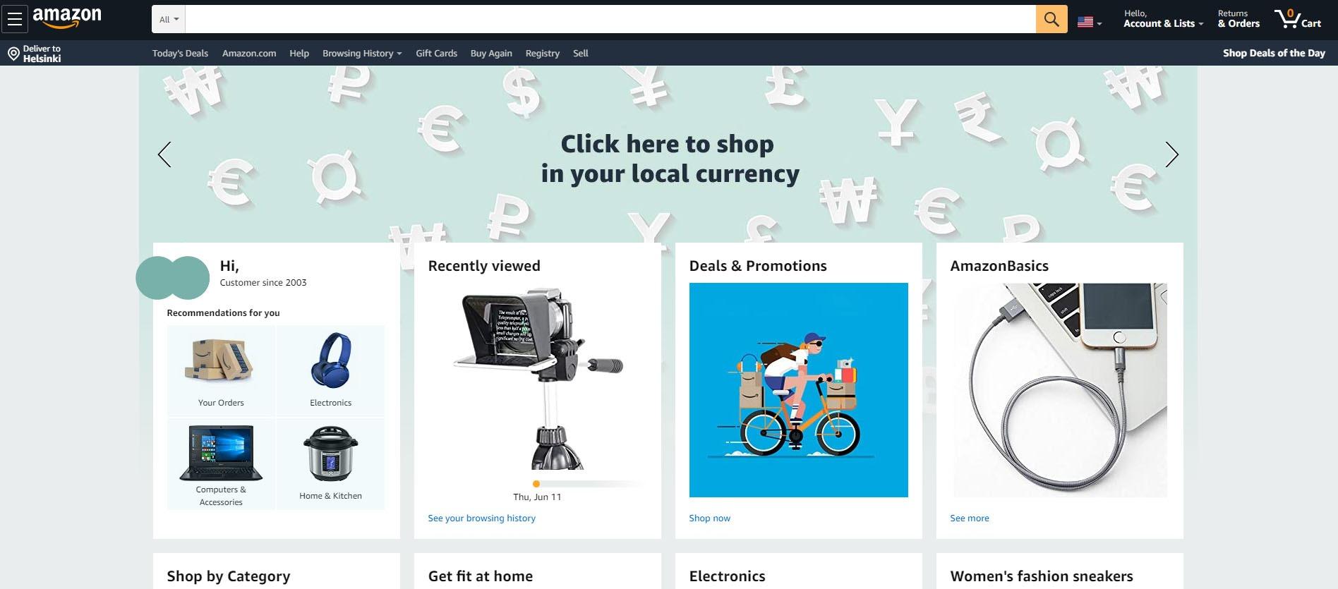 Amazon verkkokauppa etusivu