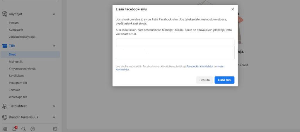 Yrityksen Facebook sivun luominen Facebook Ads Manager issa