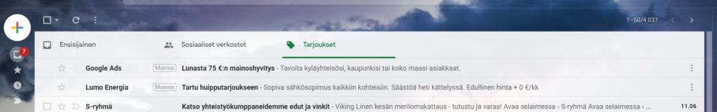 Gmail mainonta Google Display verkostossa