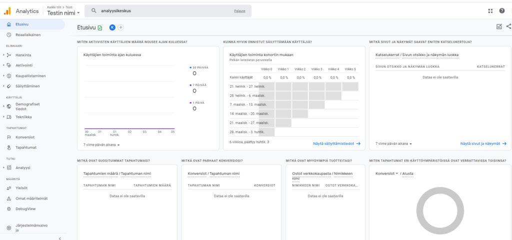Google Analytics 4 uusi etusivu