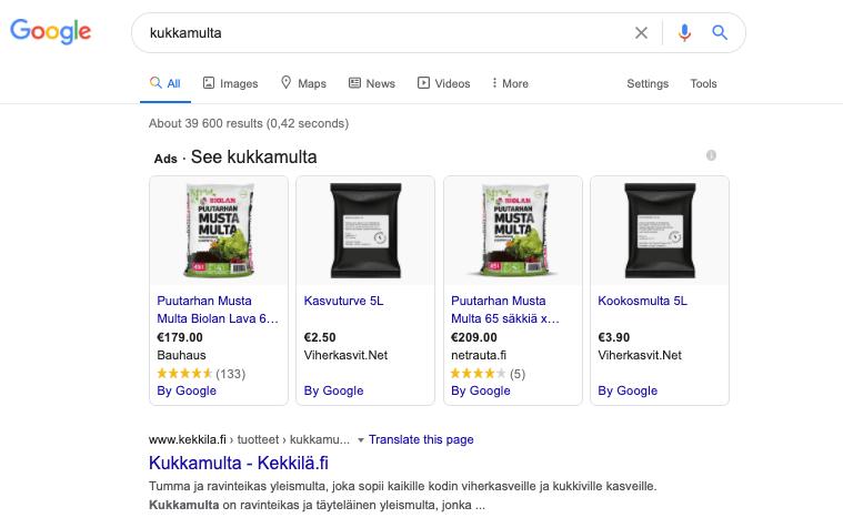 Google Shopping hakutuloksissa