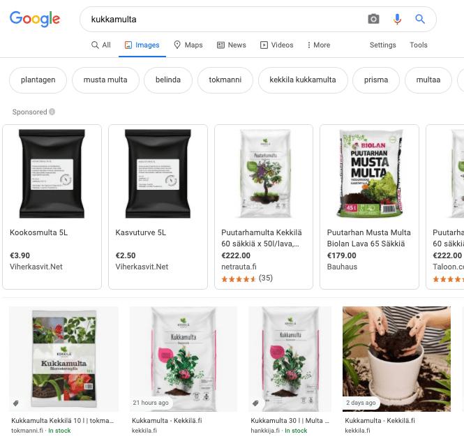Google Shopping kuvahaun tuloksissa