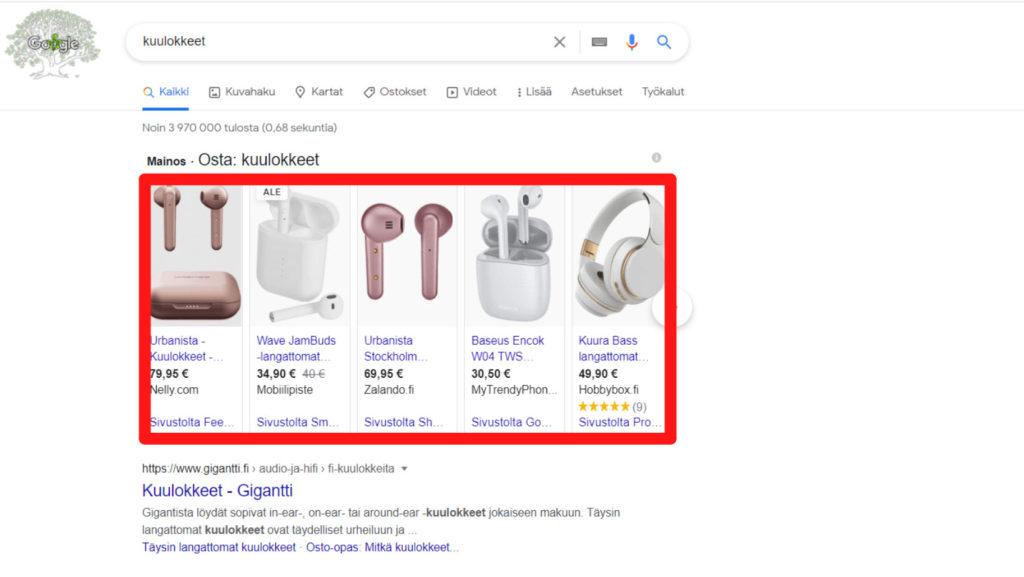 Näin hyödynnät Google Shopping ominaisuutta