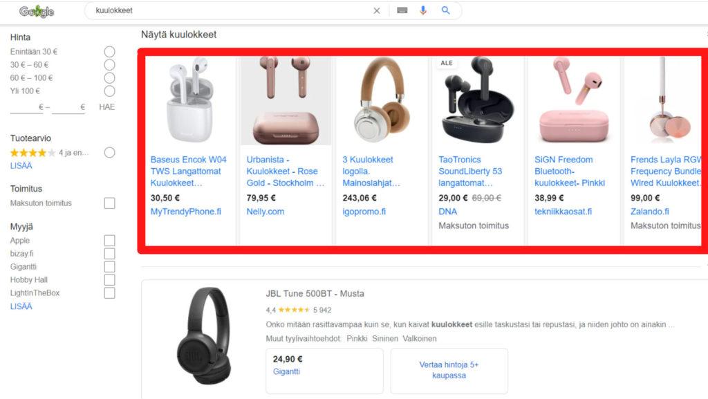 Google Shopping ominaisuus