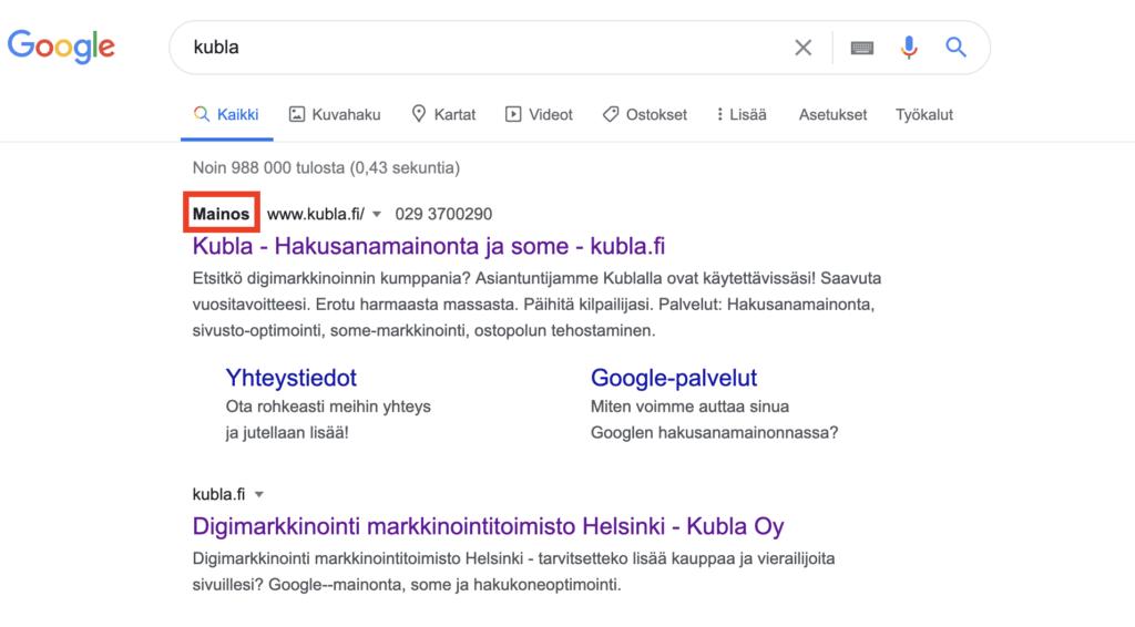 hakukonemarkkinointi-google-mainos-ja-orgaaninen tulos