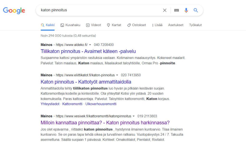 Hakusanamainonta - Miten Google mainonta toimii