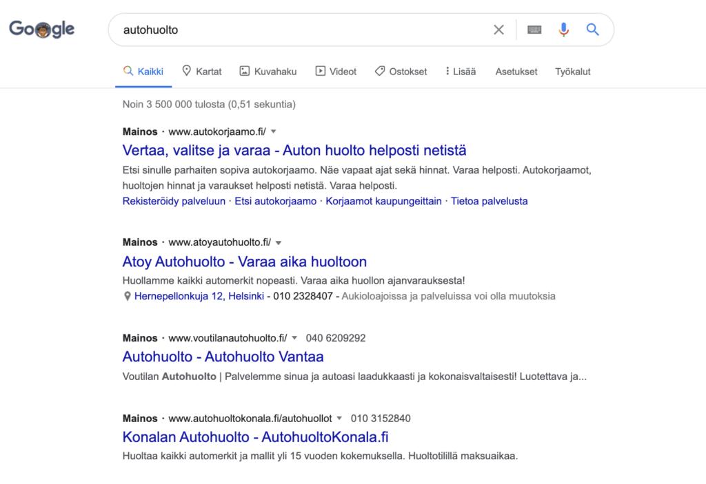 hakusanamainos-googlessa