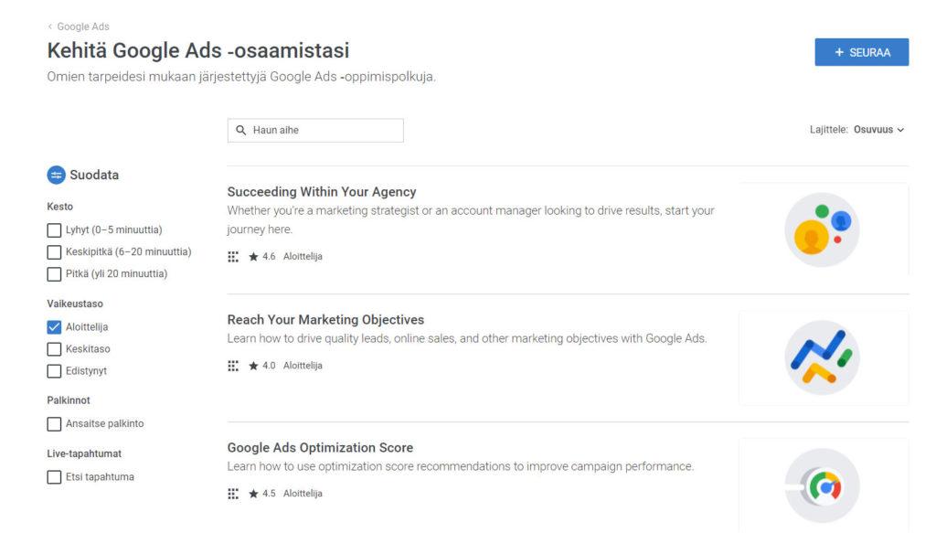 Ilmainen Google Ads koulutus