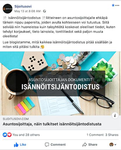 Maksuton Facebook-mainos eli tavallinen postaus, Sijoitusovi