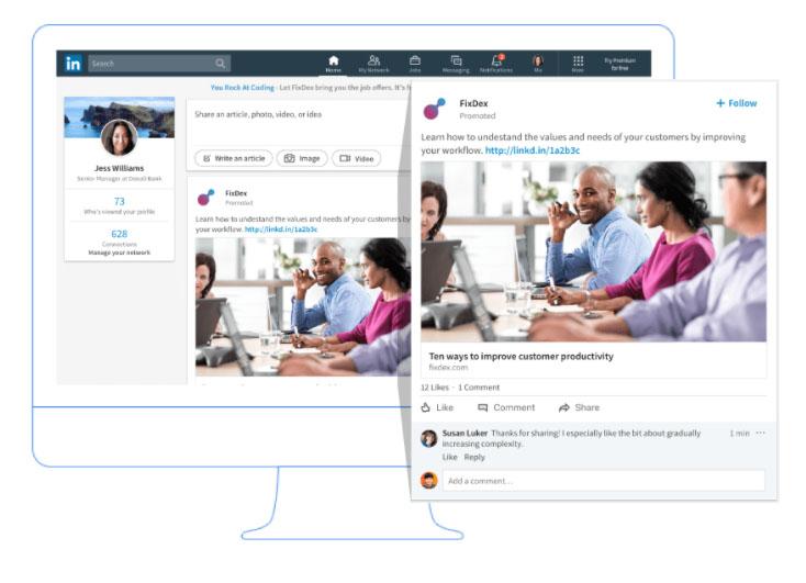 LinkedIn mainosmuodot sponsored content