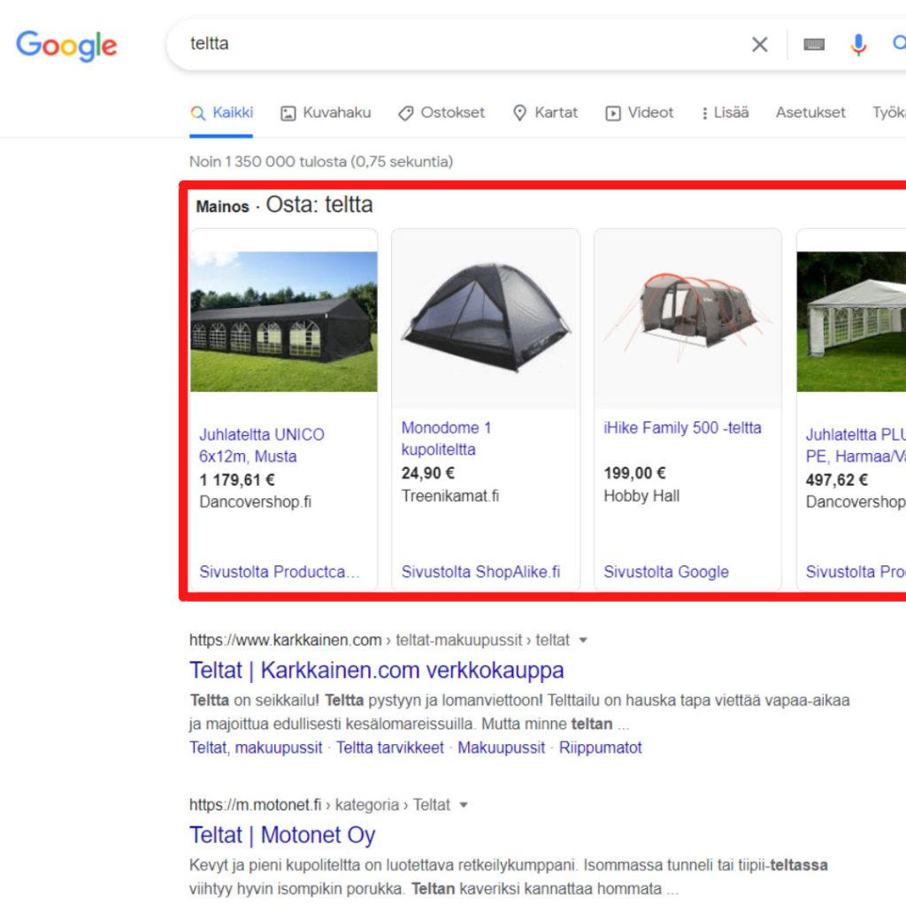 Mitä Google mainonta on? Google Shopping mainonta
